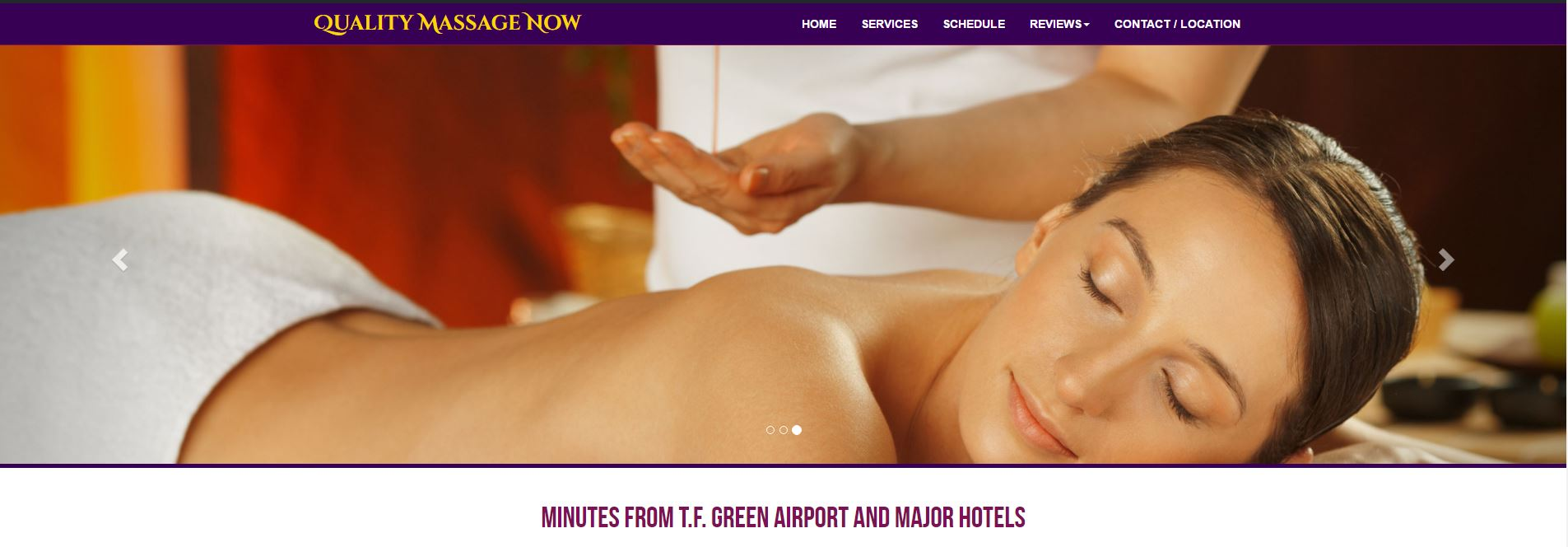 Snapshot of Quality Massage Now website newly rebuilt on a Wordpress Platform with a new online booking system.